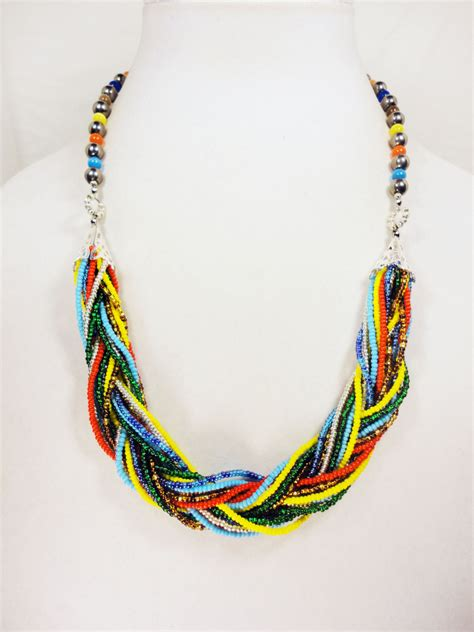 beaded braided necklace multicolor braided bead necklace