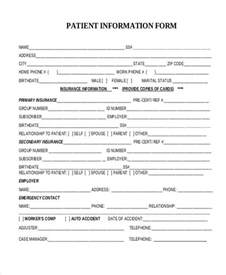 free patient information form template patient demographic form template sle patient