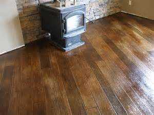 Hardwood Floor On Concrete Stained Sted Concrete To Look Like Wood Floors House Remodeling Ideas