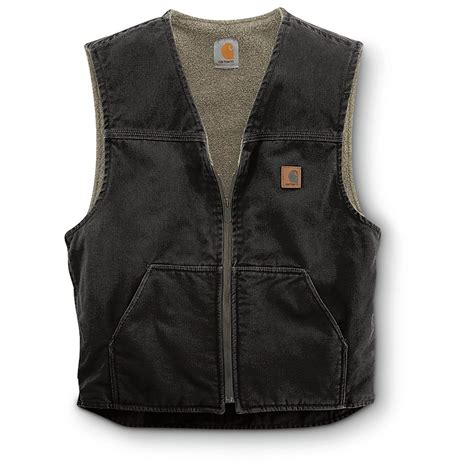 carhartt rugged vest carhartt s sandstone rugged sherpa lined vest 156260 vests at sportsman s guide