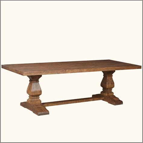 Large Trestle Dining Table Rustic Farmhouse Large Trestle Pedestal Solid Wood Dining
