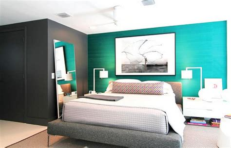 Blue Bedroom Chair Design Ideas Modern Bedroom Design Ideas Featuring Turquoise Blue And Grey Accent Wall And Modern