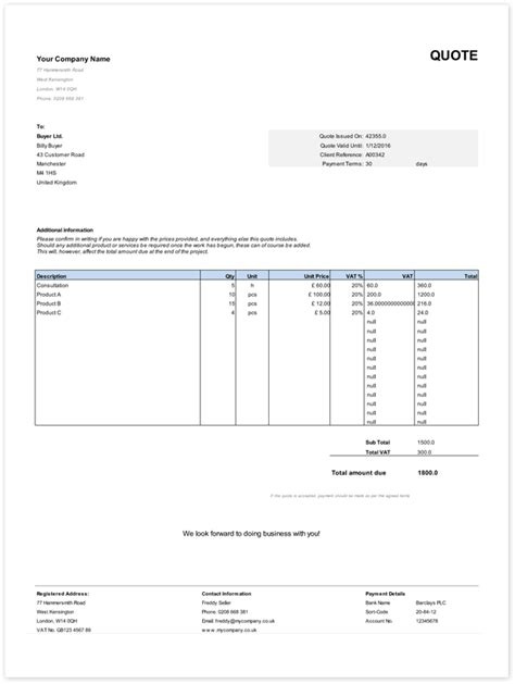 free templates for invoices and quotes free uk quote templates