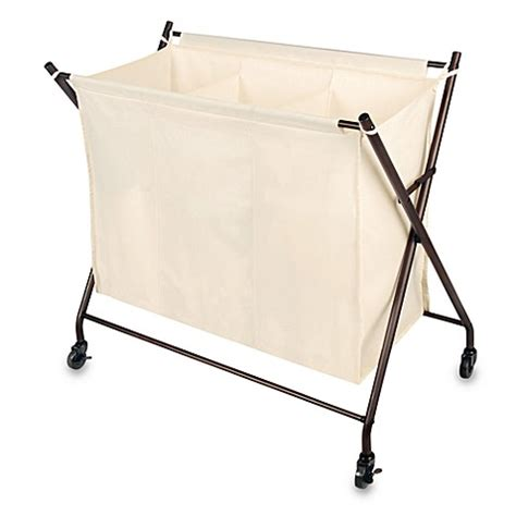 3 Bin Laundry Sorter With Canvas Cover Bed Bath Beyond Three Bin Laundry