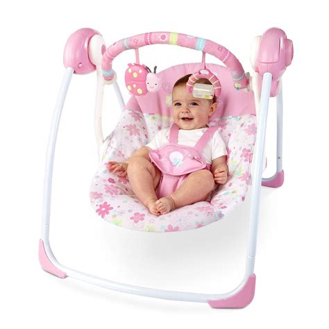 baby swing for girl baby girl portable pink swing 6 speeds 2 reclines mobile