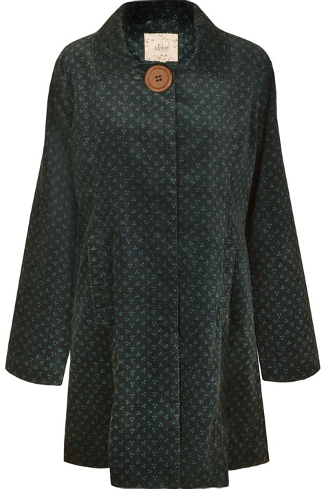 large coats spotty moleskin coat with large button teal mistral clothing