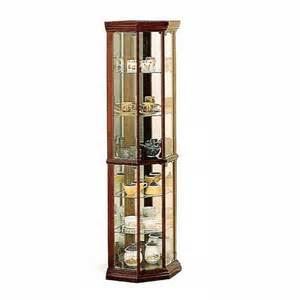 Corner Curio Cabinet Shelves Corner Curio Cherry Finish Wood Curio Cabinet With Glass