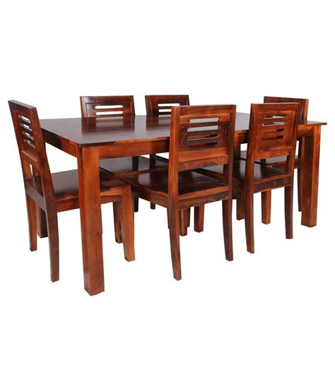 6 Seater Wooden Dining Set In Melamine Finish Buy 6 Seater Wooden Dining Set In Melamine Sheesham Wood 6 Seater Dining Set In Honey Finish Buy At Best Price In India On