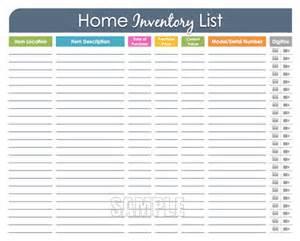 home inventory organizing printable editable household