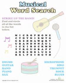 Second grade offline games worksheets music word search