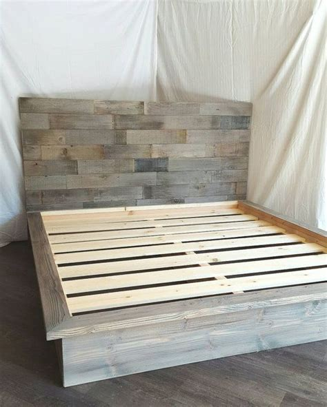 grey wood bed frame steph grey driftwood finished platform bed with horizontal