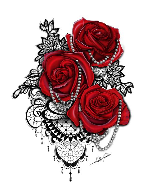 rose and lace tattoo with pearls tatts pinterest