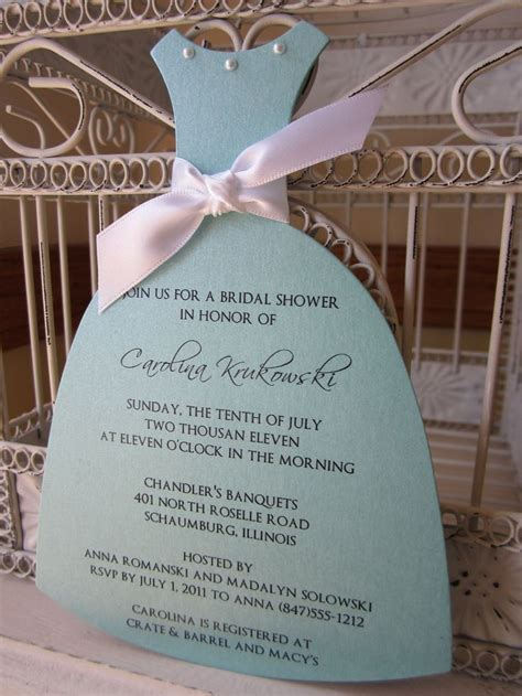 south bridal shower invitations the original aqua bridal shower die cut dress customize with pearls and ribbon bridal showers