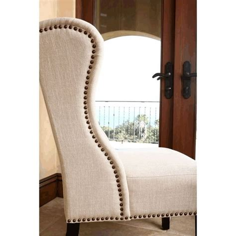 tufted wingback dining chair abbyson living kyrra tufted linen wingback dining chair in