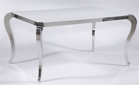 Modern White Glass Dining Table Santa Fe White Frosted Glass Contemporary Dining Table With Polished Legs Los Angeles California