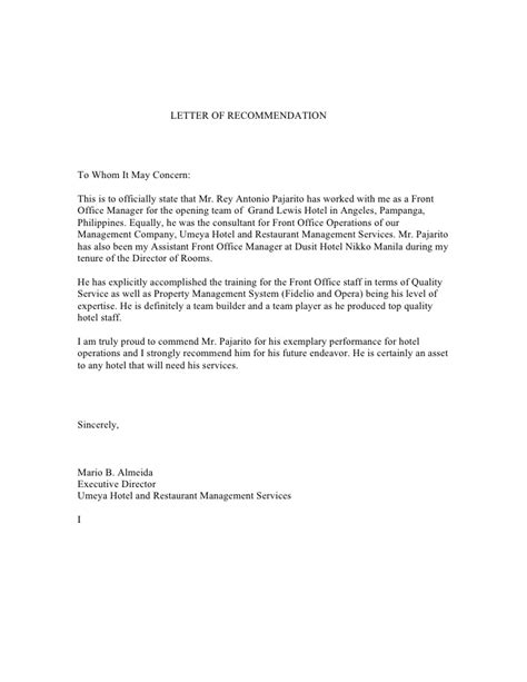 Reference Letter Hotel Letter Of Recommendation From Mr Mario Almeida Executive Director