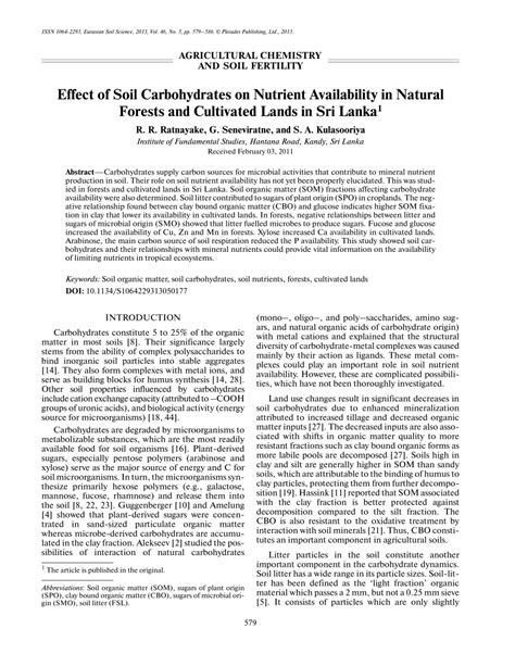 carbohydrates a nutrient effect of soil carbohydrates on nutrient pdf