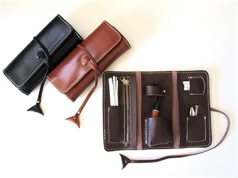 Handmade Leather Pouches - handmade leather pipe pouch available in three colors
