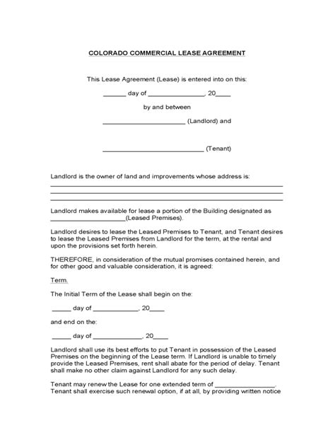 Commercial Rental Agreement Form 20 Free Templates In Rental Agreement Template Colorado