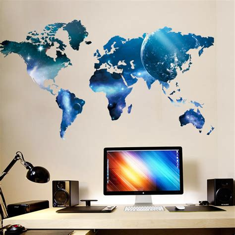 wall stickers world world map space wall sticker