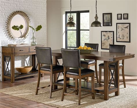warm brown formal dining room sets for 8 with glass door benson warm brown counter height trestle dining room set