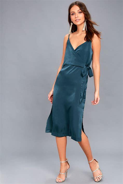 Dress Midi Satin evidnt satin dress wrap dress midi dress teal dress