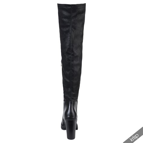 womens stretch leather thigh high the knee boots