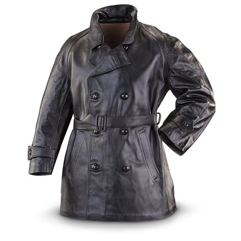 new italian police surplus leather jacket black 307479