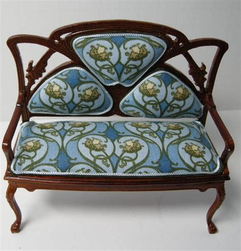 Dollhouse Miniature Custom Furniture Art Nouveau Sofa