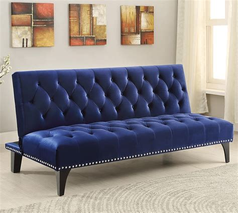 blue futon sofa bed 500097 royal blue plush velvet tufted futon sofa bed with