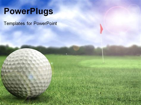 Golf Ball In A Course With Striking Colours Powerpoint Template Background Of Golfball Game Golf Powerpoint Template