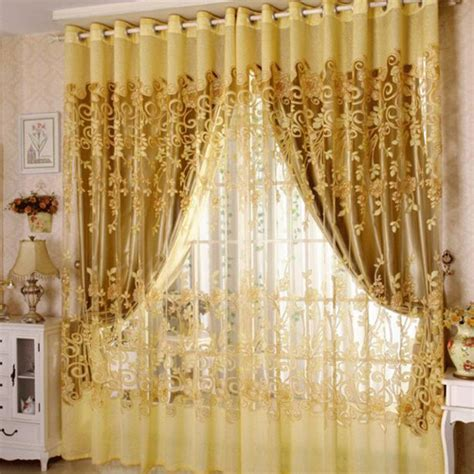 gold print curtains pastoral style gold polyester jacquard and print floral