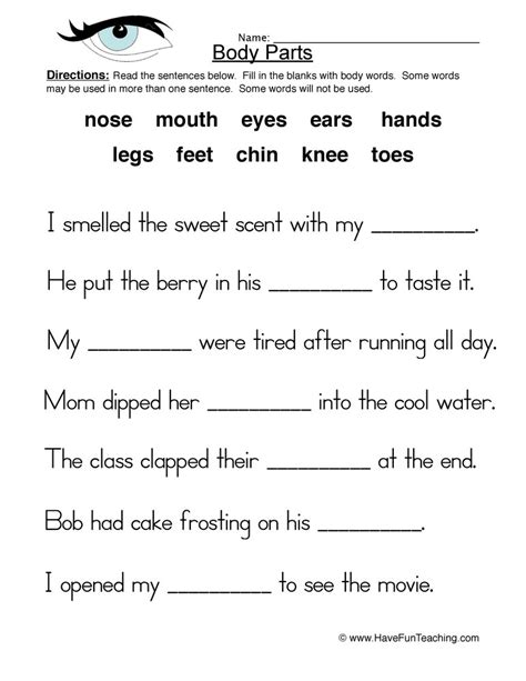 fill in the blanks worksheets parts worksheet fill in the blanks teaching