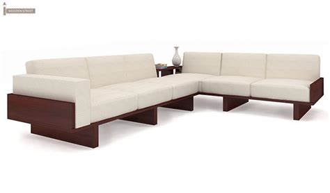 wooden corner sofa designs audrey 6 seater l shape corner sofa set mahogany finish