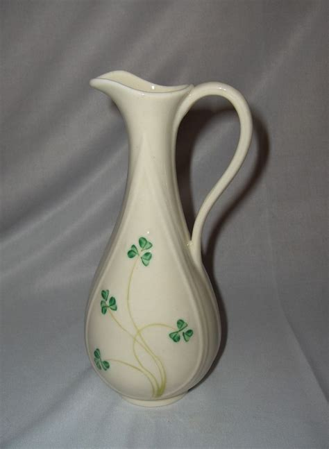 Belleek Shamrock Vase by Vintage Belleek Shamrock Porcelain Ewer Vase Pitcher