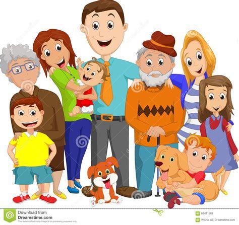 clipart famiglia illustration of a big family portrait stock vector