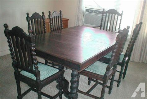 antique oak barley twist dining table chairs for sale in