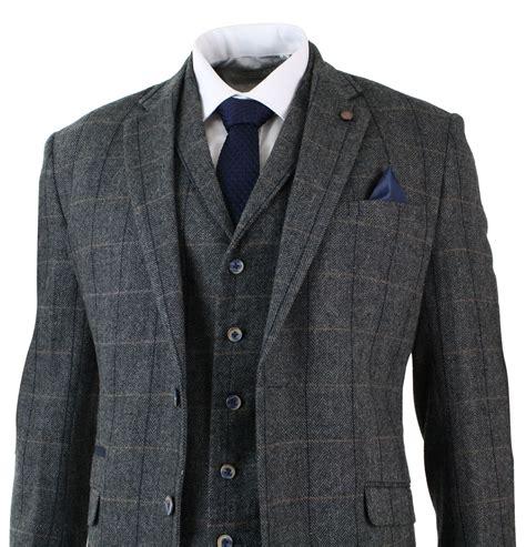mens 3 classic tweed herringbone check grey navy