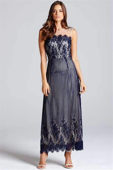 blue stripe lace layered maxi dress