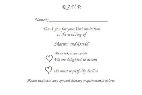 Rsvp Response Letter Wording 10 X Rsvp Reply Card Personalised Wedding Christening To The The O Jays And Wedding