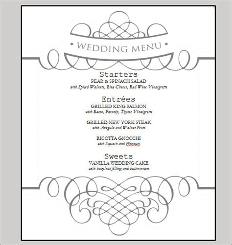 free printable menu templates for wedding 7 best images of printable wedding menu cards templates free printable wedding menu templates