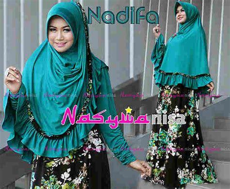 Gamis Syar I 01 Hijau nadifa hijau tosca baju muslim gamis modern