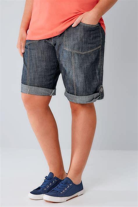Check Indigo Gift Card Balance - indigo denim roll up utility shorts with ribbed elasticated waistband plus size 16 to 36