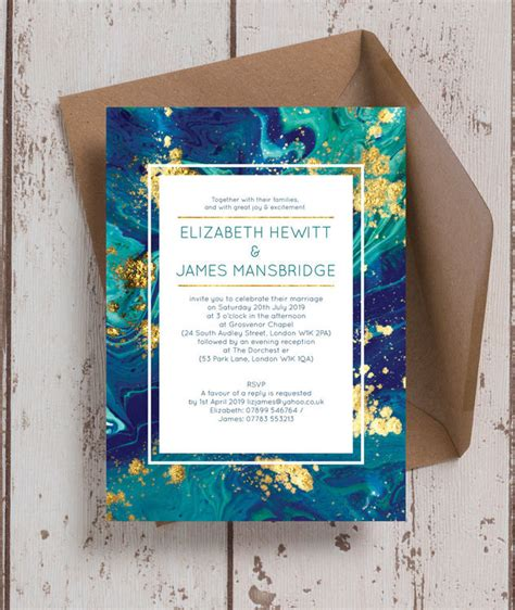 teal gold ink wedding invitation from 163 1 00 each