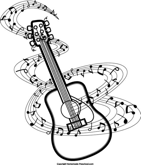 dark color musical notes vector drawn music notes guitar pencil and in color drawn music