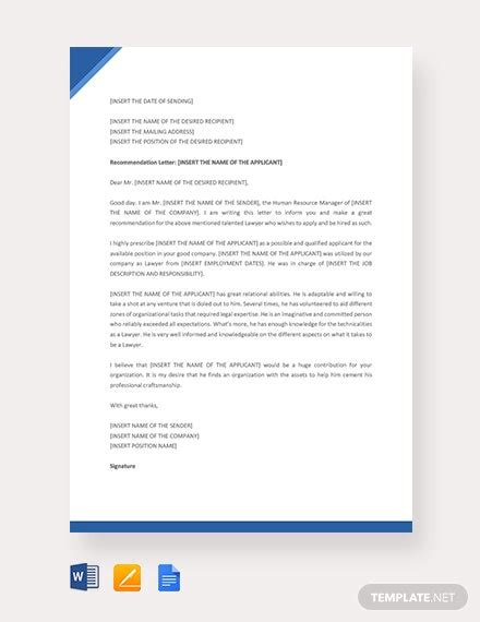lawyer recommendation letter template word