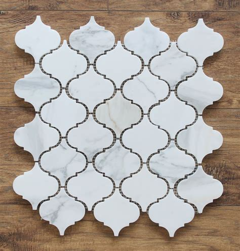 small arabesque calacatta gold polished marble mosaic tiles rocky point tile glass and