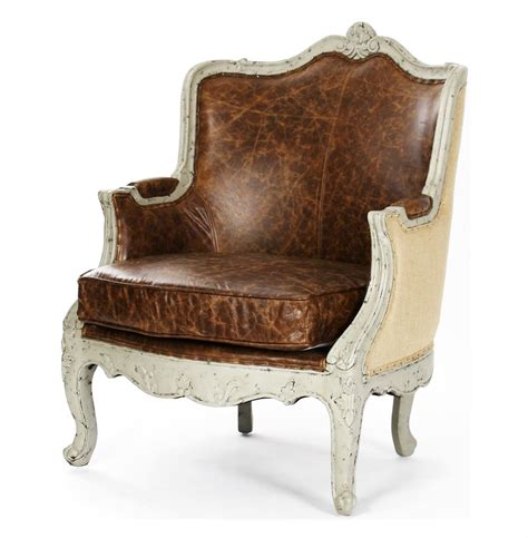 Country Accent Chairs by Adele Country Top Grain Leather Burlap Accent Arm