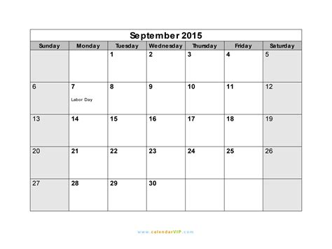 printable monthly calendar for september 2015 image gallery blank september 2015