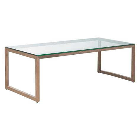 Tilda Glass Coffee Table With Copper Base Coffee Glass